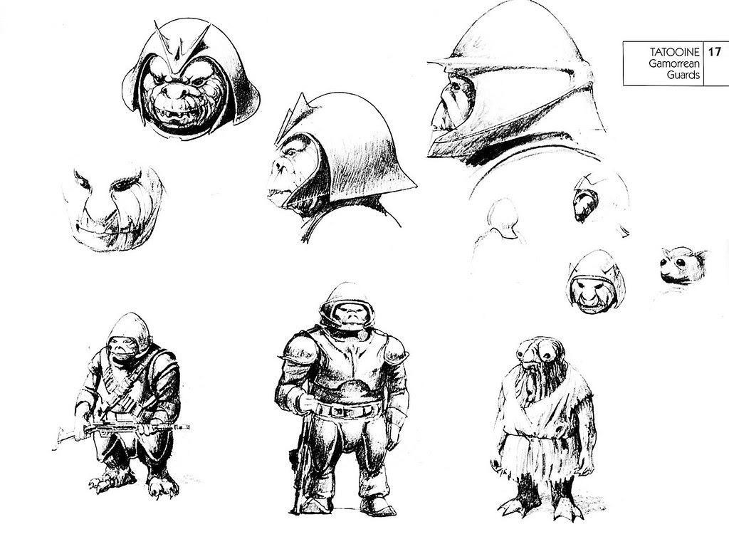 Ralph Mcquarrie - Gamorrean Guards Sketches 2