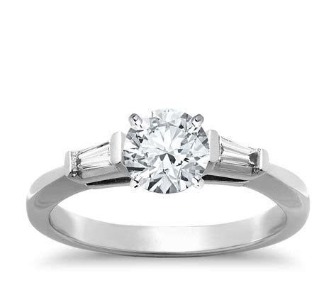 Tapered Baguette Diamond Engagement Ring in Platinum (1/6
