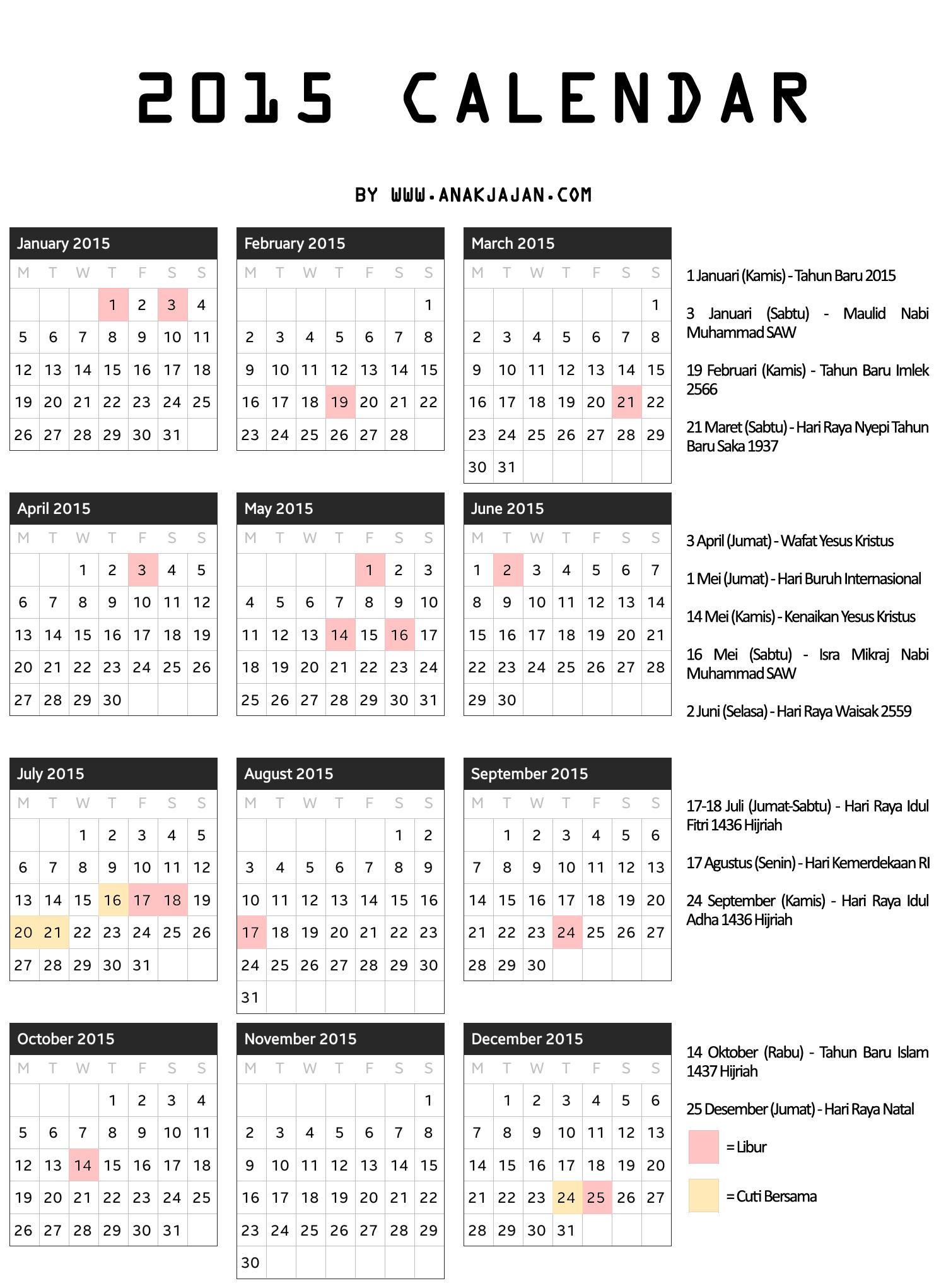 kalender 2016 berikut hari libur hari libur s