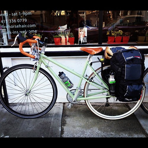 She-devil is 95% complete, borrowed front wheel, rack, stem & panniers. @handsomecycles now is time to ride in napa!