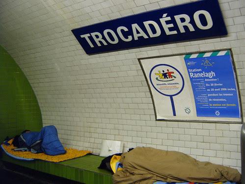 Homeless sleeping at Trocadero Metro Station