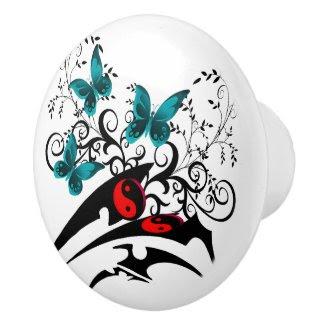 Tribal Yin Yang Butterflies,aqua Ceramic Knob