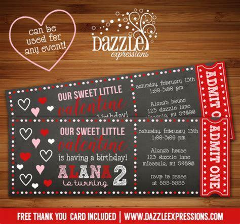 Printable Valentines Day Chalkboard Ticket Birthday