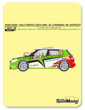 Transkit 1/24 Reji Model - Skoda Fabia S2000 Helix - Nº 3, 6 - J. Hanninen + M. Markkula, Kopecky + Stary - Rally de Monte Carlo 2009 para kit de Belkits BEL-004