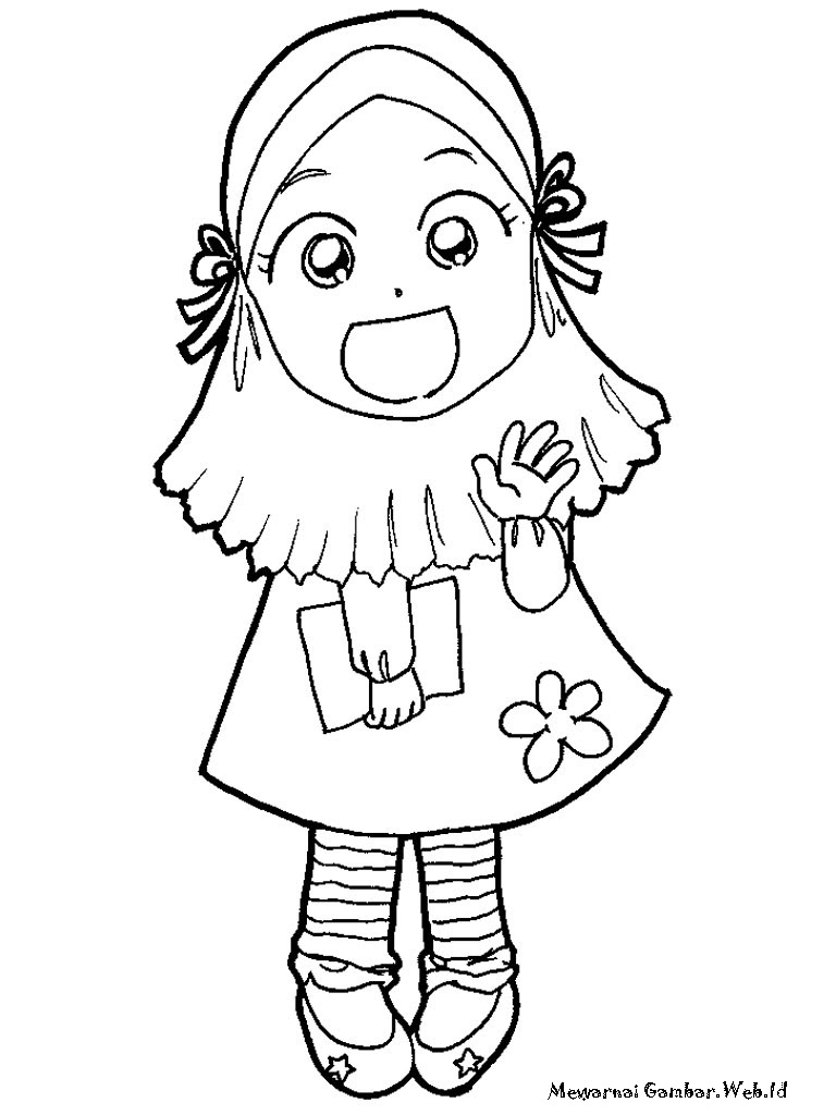 Gambar Gambar Mewarnai Sketsa Kartun Anak Muslim  Mengaji