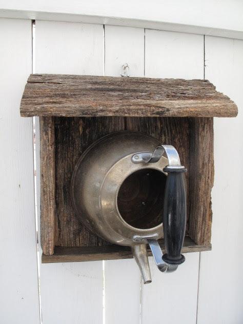 repurposed tea pot bird house - TotT8