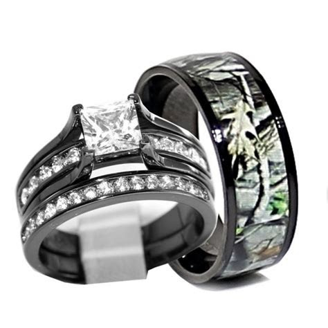 His and Hers 925 Sterling Silver Titanium Camo Wedding