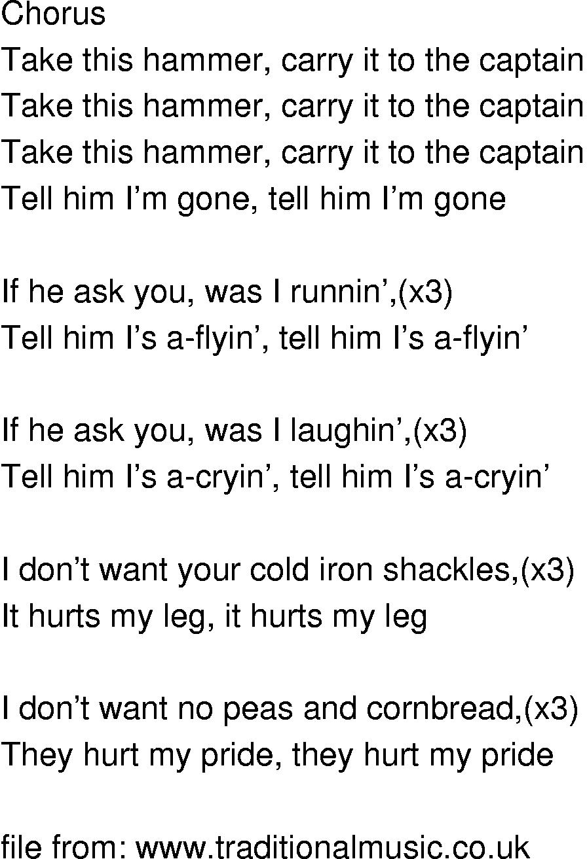 Old-Time Song Lyrics - Take This Hammer