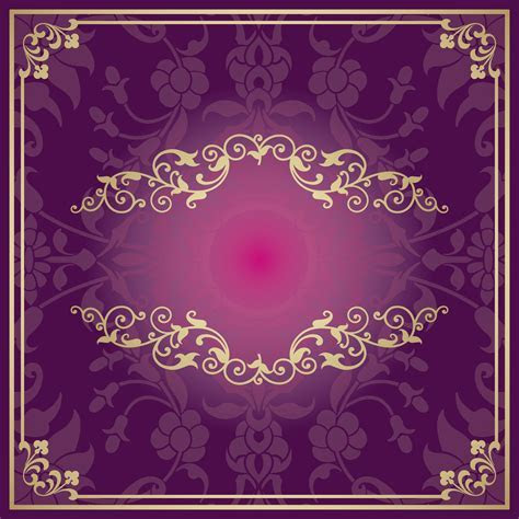 Purple Invitations Golden European Pattern Background