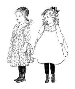 vintage school girl clip art, old school graphics, dillingham school poem, old book page, printable old fashioned school