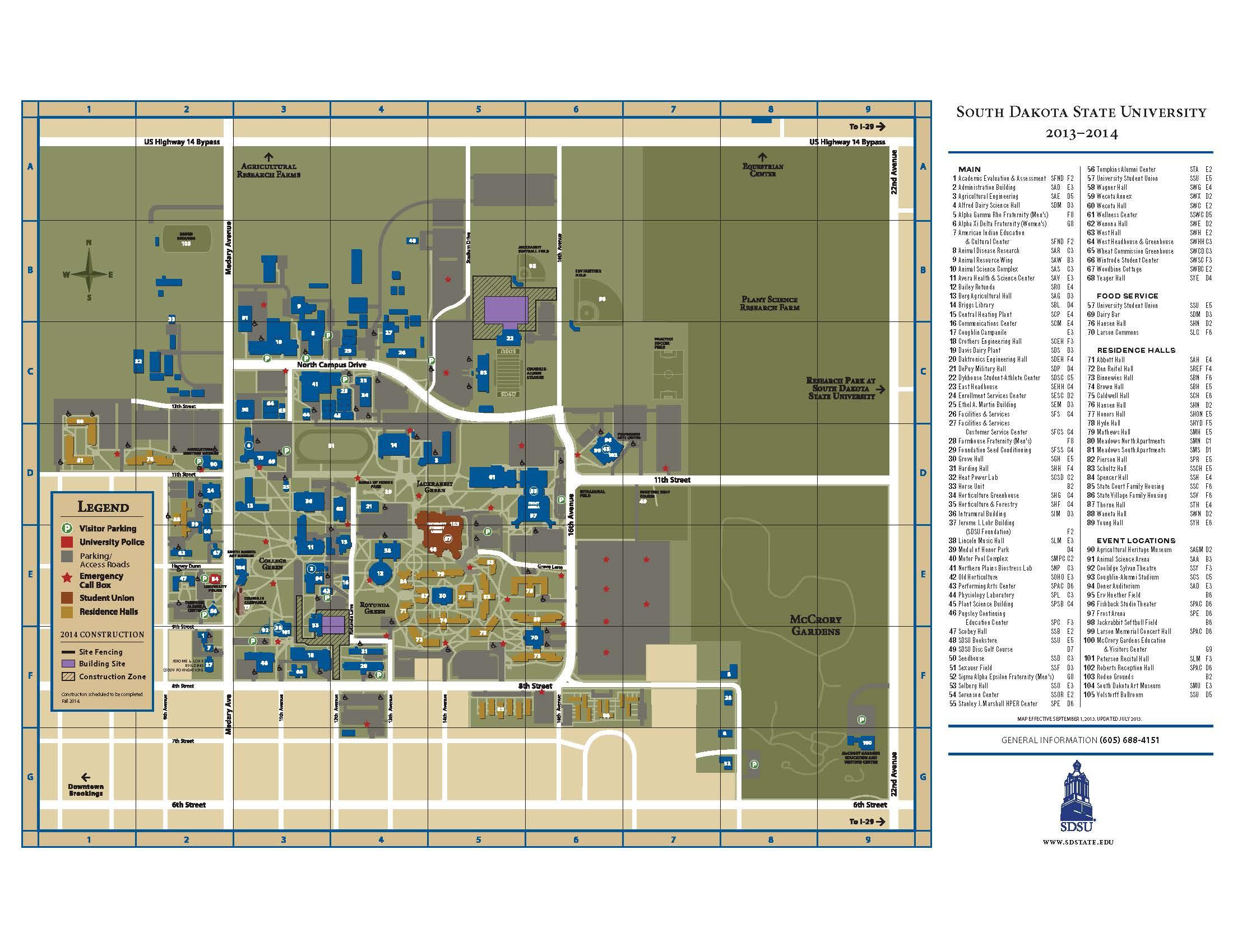 South Dakota State University Campus Map South Dakota State Campus Map | Time Zone Map