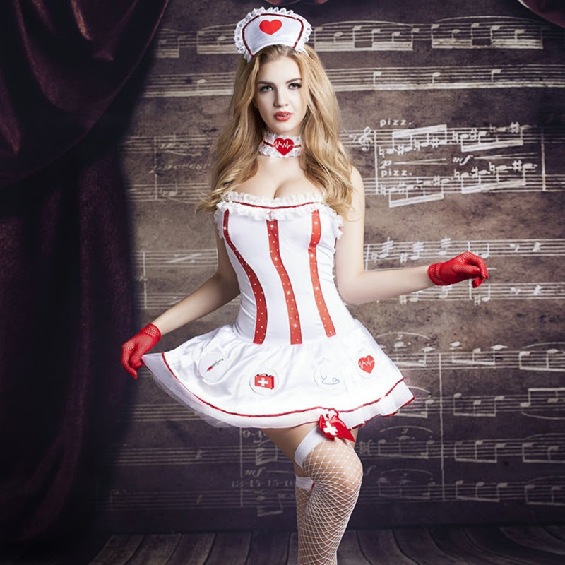 NEW  New Sexy Nurse SM Cosplay Sexy Lingerie Hot White Flounced+Red Cute Bow Erotic Lingerie Pole Dancin