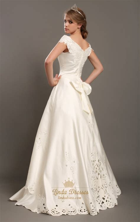 Ivory Satin A Line Off The Shoulder Cap Sleeve Wedding