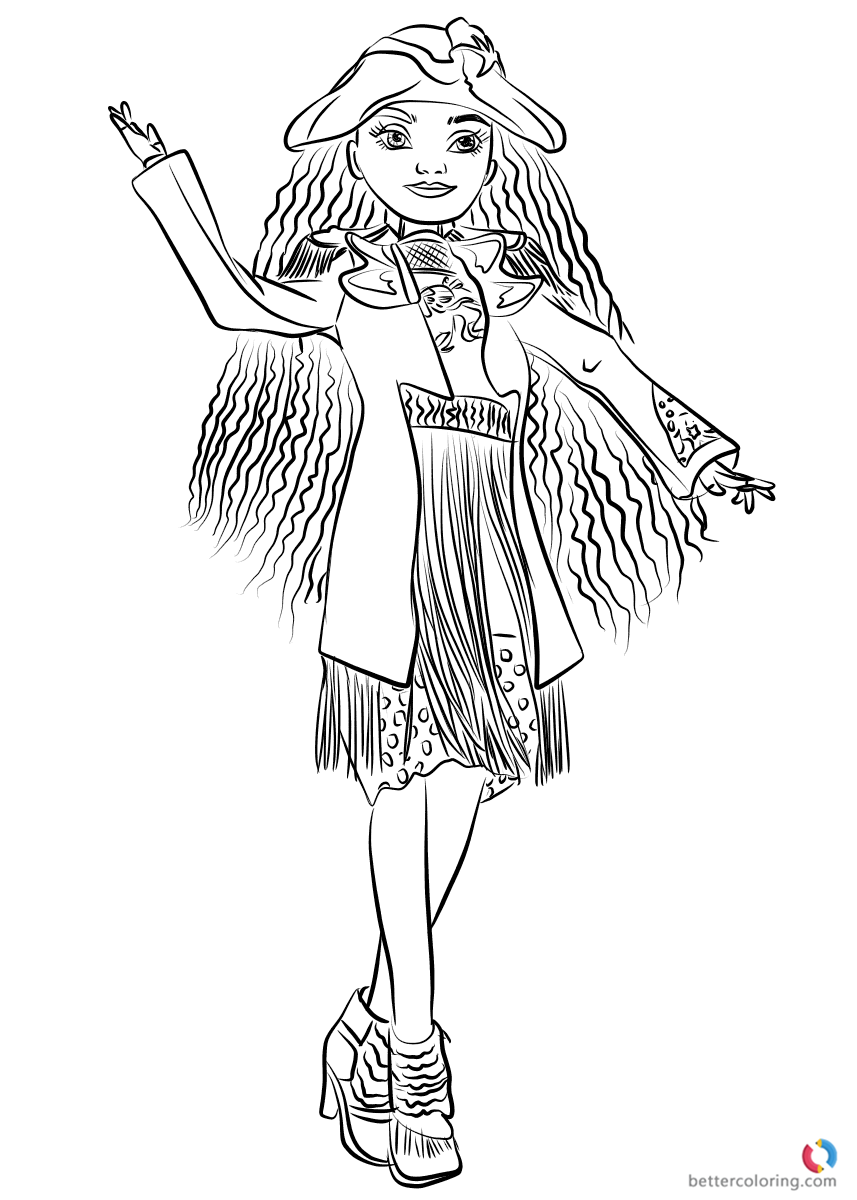uma from descendants coloring page