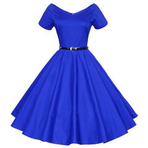 Vintage Solid Color V-Neck High Waist Ball Flare Dress For Women