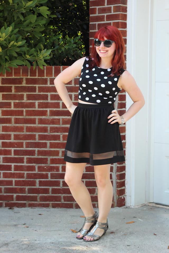 Polka Dot Crop Top, Black Skater Skirt, Silver Sandals