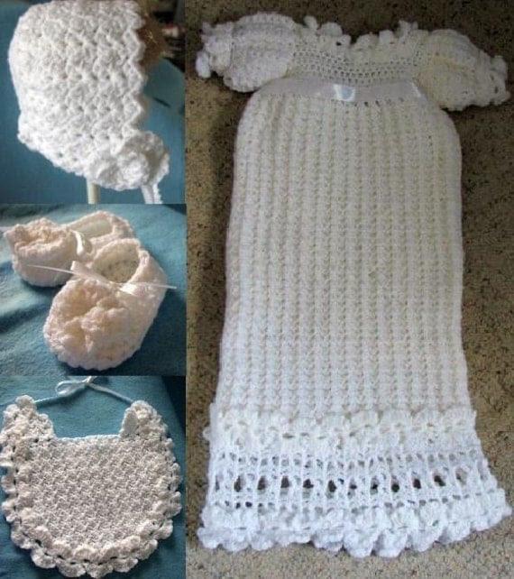 Crochet Pattern White Christening Gown, Bonnet & Bib Set in All Yarn PDF Pattern