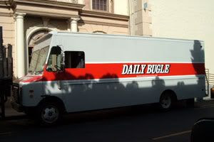 The Daily Bugle van.