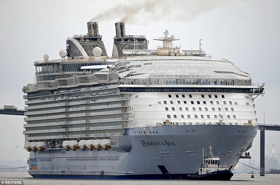 Size: Harmony Of The Seas is 330ft longer than the Titanic and is as high as seven double decker buses stacked on top of each other