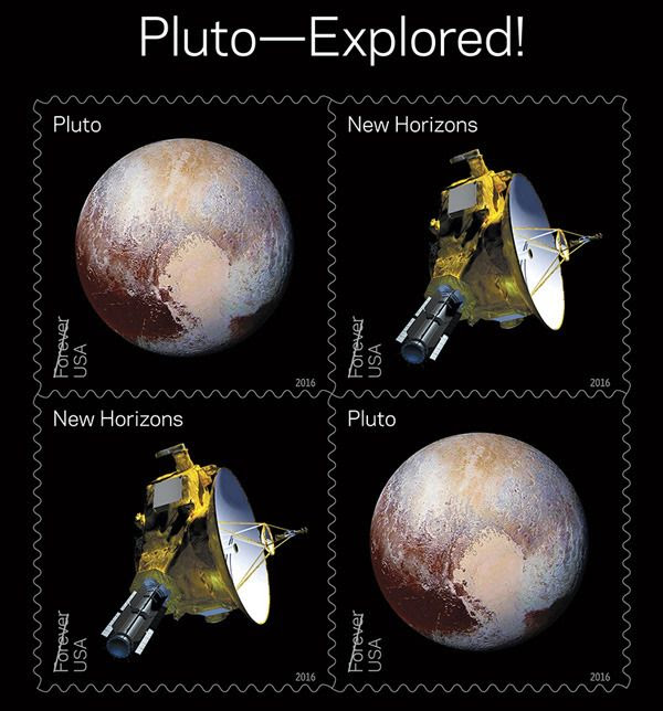 New U.S. Postal Service stamps commemorating NASA's New Horizons spacecraft and its flyby of Pluto last July.