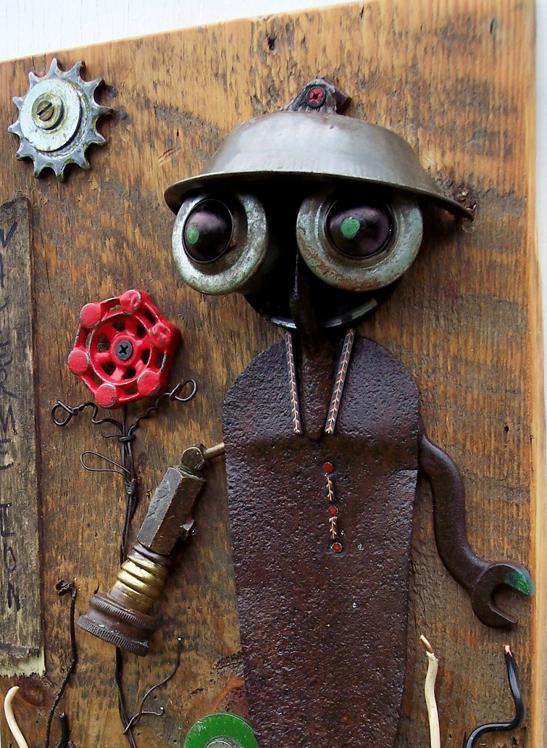 Robot art assemblage THE GARDENER Workman series number two..Salvage art