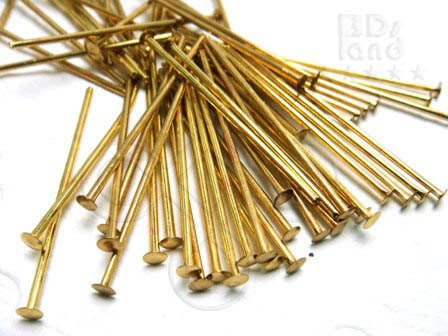closed OUT -10% / E128GDHD / 100 Gm ( approx 970 Pc ) - 1.0 inch / 20 gauge - Gold Plated Thick Head Pins - Beadersland