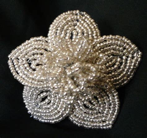 Silver & Black French Beaded Flowers · A Beaded Flower