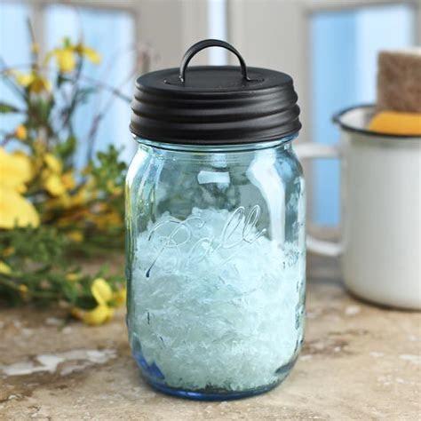 Vintage Inspired Blue Mason Jar with Matte Black Lid