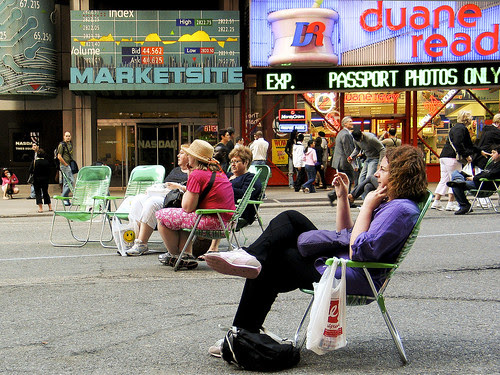 Sitting in Times Square