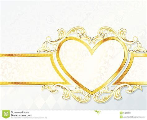 Horizontal Rococo Wedding Banner With Heart Emblem Stock