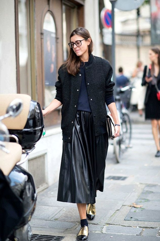 Le Fashion Blog -- Street Style: Bomber Jacket, Leather Pleated Skirt & Celine Gold Oxfords -- Paris Fashion Week Via NY Mag -- photo Le-Fashion-Blog-Street-Style-Bomber-Jacket-Leather-Pleated-Skirt-Celine-Gold-Oxfords-Paris-Fashion-Week-Via-NY-Mag.jpg