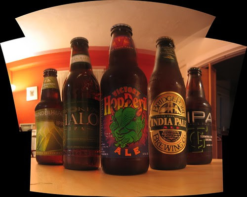 Double IPA (excepting BridgPort) marketers have some kind of complex about making beer labels extra intense with devils and lightning and scary stuff.  Left to right, Pyramid (Seattle/Portland), Widmer (Portland), Victory (Downington, PA), BridgePort (Portland), and Terminal Gravity (Enterprise, OR).   Hop Devil is my favorite, but it's also $10.39 for 6.