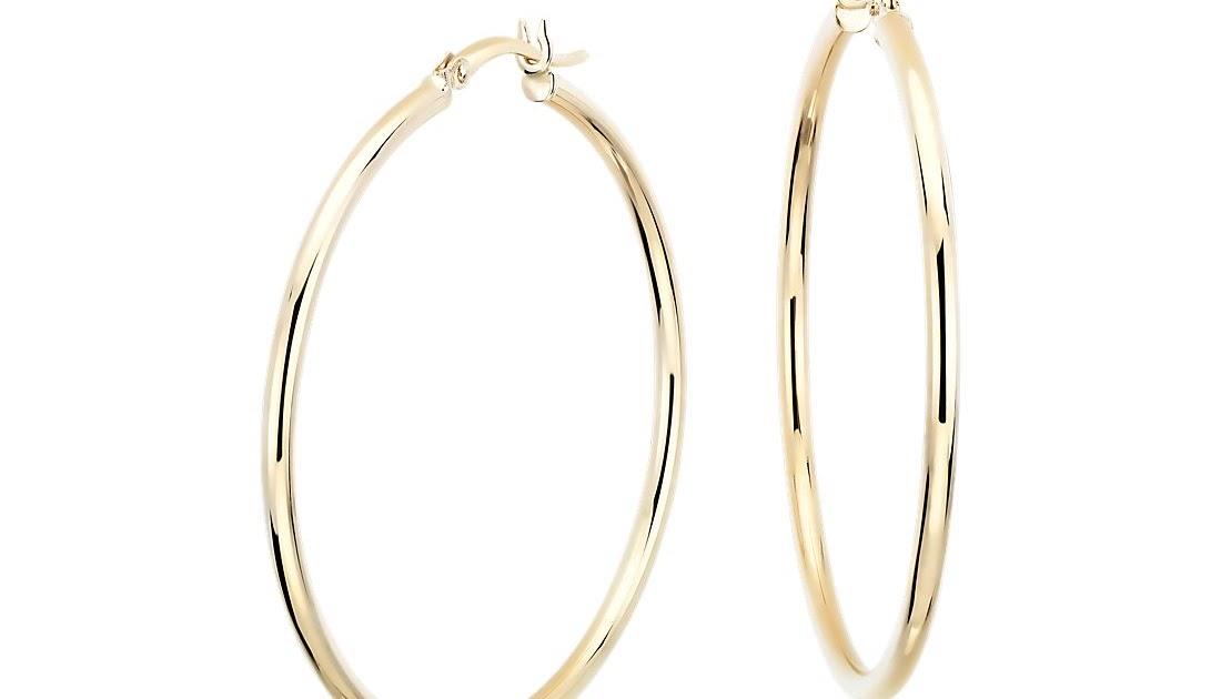 56b3ddcf0a36 Large Hoop Earrings in 14k Yellow Gold 1 5 8u0026quot  Blue Nile