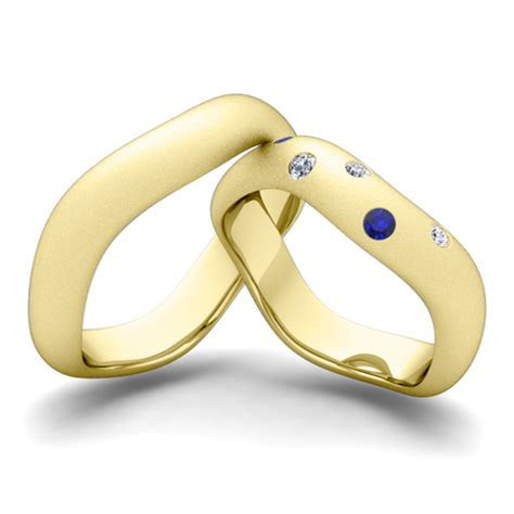 Matching Wedding Band 14k Gold Curved Diamond Sapphire Ring