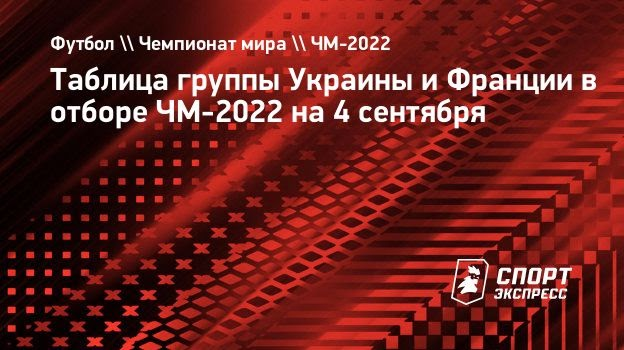 Таблица группы Украины иФранции вотборе ЧМ-2022 на4сентября
