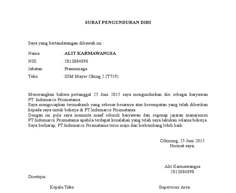 Contoh Surat Pengunduran Diri Dari Pt - Aneka Contoh