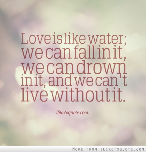 Love Is Like Water We Can Fall In It We Can Drown In It And We