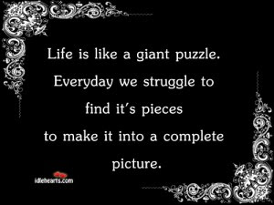Life Is Like A Giant Puzzle Every We Struggle To Find Its Pieces