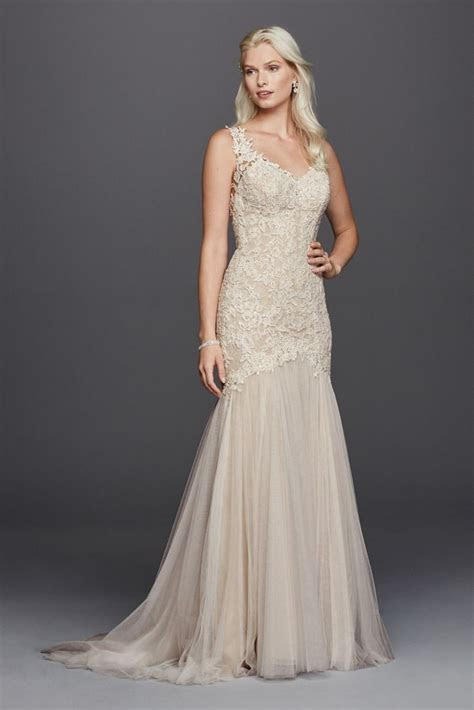 Extra Length Beaded Venice Lace Trumpet Wedding Dress