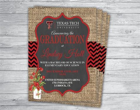 Any Event/Color TEXAS TECH GRADUATION Announcement Party