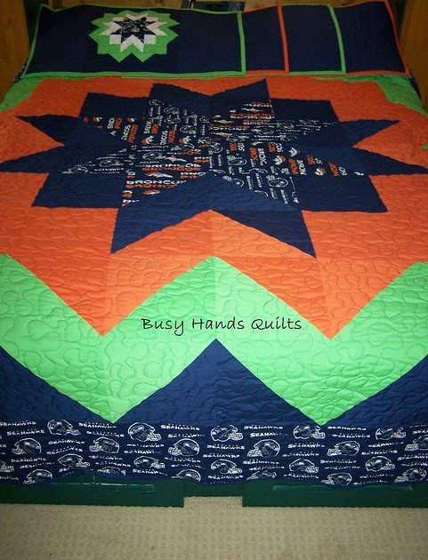 Busy Hands Quilts Custom King Sized Seahawks And Broncos