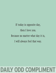 If Today Is Opposite Day Then I Love You Because No Matter What