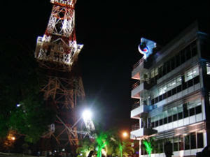 Luzes da torre da TVCA também serão desligadas (Foto: G1 MT)