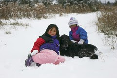 The Girls with Casey in the Snow