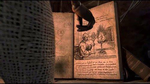 """Esta página del libro """"Anular de Peracelsus"""" que se encuentra en la película parece estar inspirado en el grabado anteriormente."""