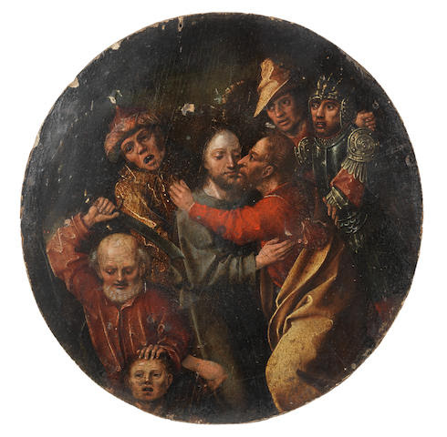 Follower of The Master of Karlsruhe Passion (active South Germany, 1450) The Kiss of Judas 22cm diameter (8 11/16in)  (unframed)