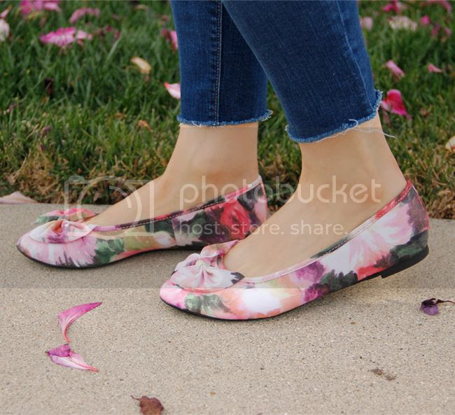 Sam & Libby floral Chelsea bow ballet flats