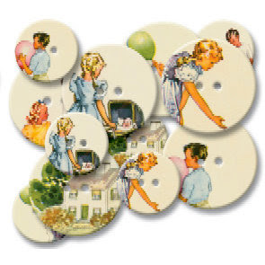 Jenni Bowlin Studio - Chipboard Buttons - Reader, CLEARANCE