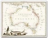 New Holland - Vintage Map of Australia from 1812,  printed on 12x16'' (30x40cm) on Fine Art Canvas - DejaVuPrintStore