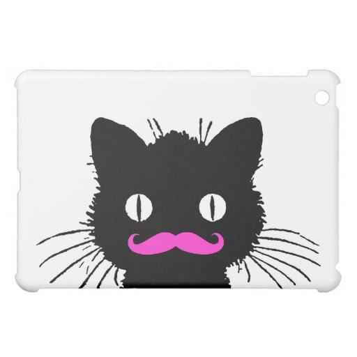 FUNNY BLACK CAT PINK MUSTACHE iPad MINI CASE